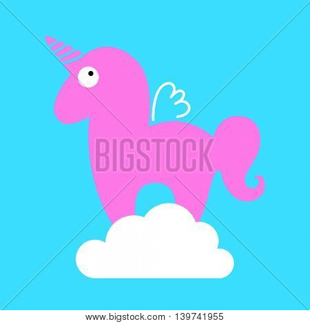 Unicorn. Magic horse with horn and wings on the cloud. Unicorn silhouette on background. Vector illustration.