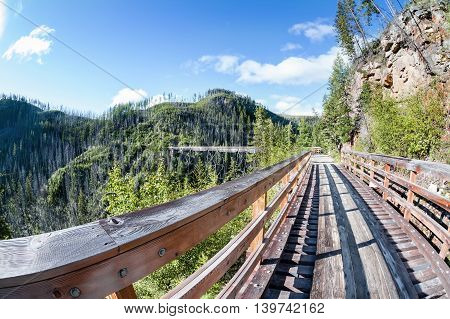 Historic Trestle At Myra Canyon Provincial Park, Canada