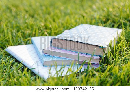 Stack of Books on the Green Fresh Grass. Education Concept