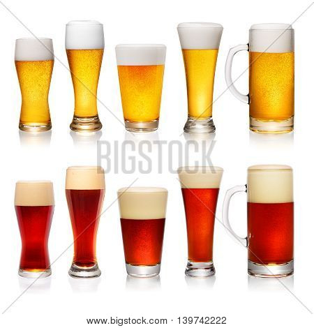 Set Of Different Glasses Of Beer