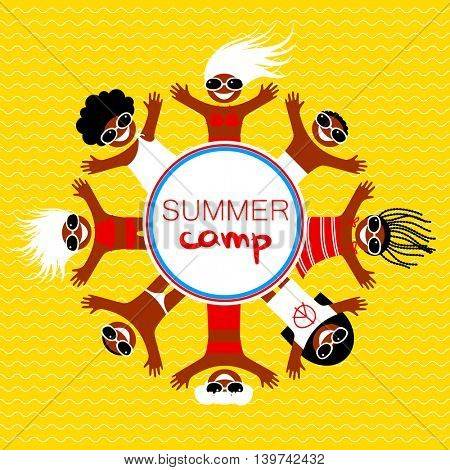 Summer camp. Happy kids in bathing suits, sunglasses, swimming trunks sunbathing on the sea beach.. Vector illustration.