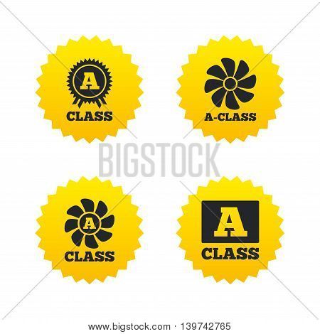 A-class award icon. A-class ventilation sign. Premium level symbols. Yellow stars labels with flat icons. Vector
