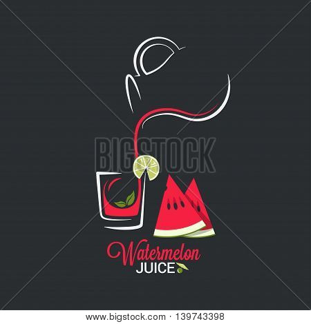 Watermelon juice. Glass and jug of summer smoothie 10 eps