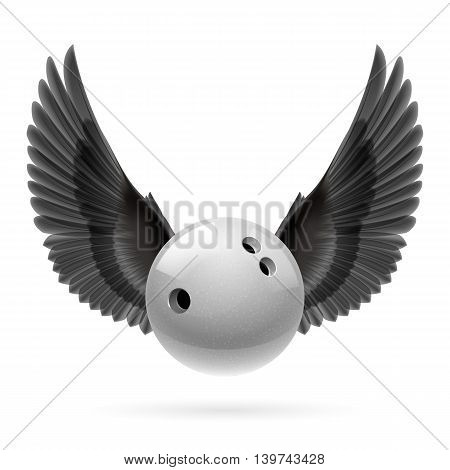 White bowling ball with black wings emblem