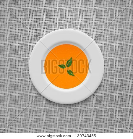 Cream soup in a white plate. Pumpkin and carrot recipe. Vegetable puree on old linen texture design vector background. 10 eps