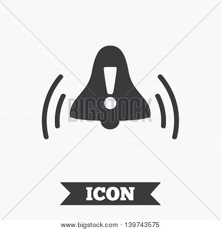 Alarm bell with exclamation mark sign icon. Wake up alarm symbol. Graphic design element. Flat alarm symbol on white background. Vector