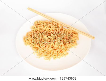 Pure noodle on white plate isolated on white background.