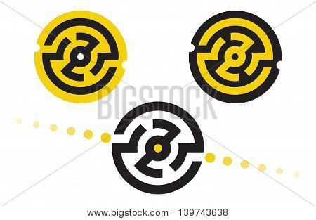 set of abstract logo symbols in the form of a circular maze