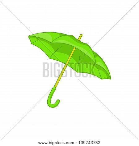 Green umbrella icon in cartoon style isolated on white background. Protection from rain symbol