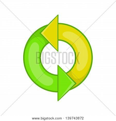 Recycling sign icon in cartoon style isolated on white background. Ecology symbol