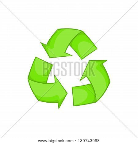 Recycling icon in cartoon style isolated on white background. Ecology symbol