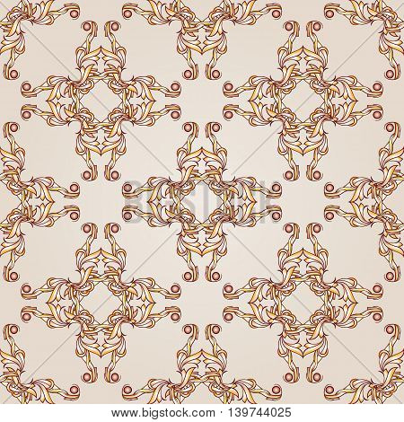 Light brown symmetrical patterns on the light background.