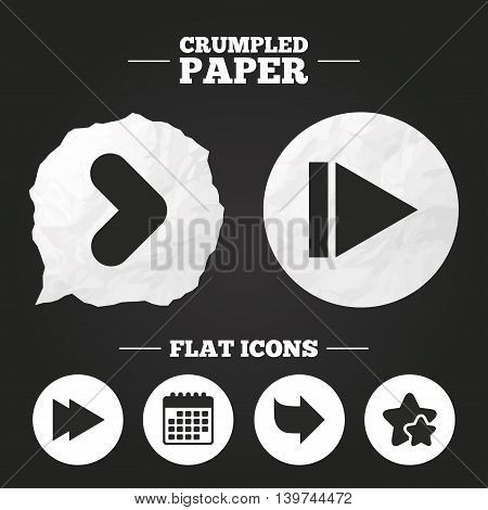 Crumpled paper speech bubble. Arrow icons. Next navigation arrowhead signs. Direction symbols. Paper button. Vector