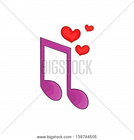 Love song icon in cartoon style isolated on white background. Romance symbol