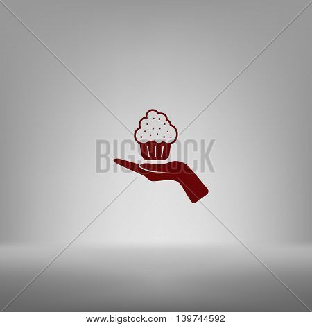 Flat Paper Cut Style Icon Of Cake