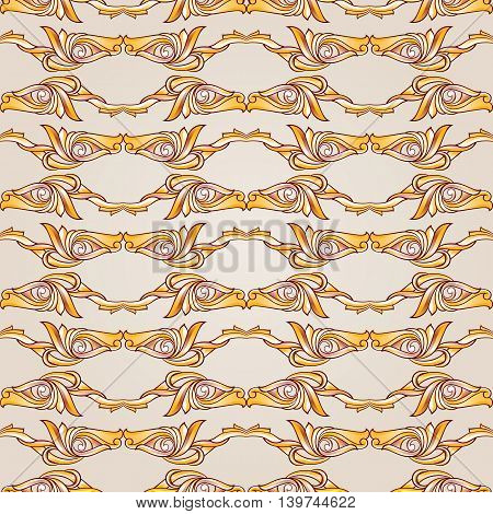 Parallel symmetrical beige patterns. Horizontal ines. Light background.