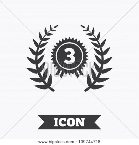 Third place award sign icon. Prize for winner symbol. Laurel Wreath. Graphic design element. Flat winner symbol on white background. Vector