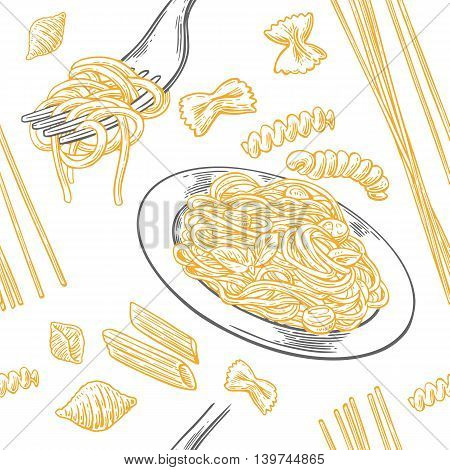 Seamless pattern set pasta. Farfalle conchiglie penne fusilli and spaghetti on fork. Vector vintage engraving illustration for poster menu web banner info graphic. Isolated on white background