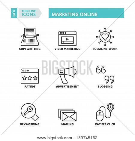Thin Line Icons. Marketing Online