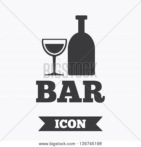 Bar or Pub sign icon. Wine bottle and Glass symbol. Alcohol drink symbol. Graphic design element. Flat bar symbol on white background. Vector