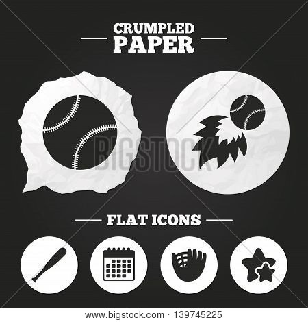 Crumpled paper speech bubble. Baseball sport icons. Ball with glove and bat signs. Fireball symbol. Paper button. Vector