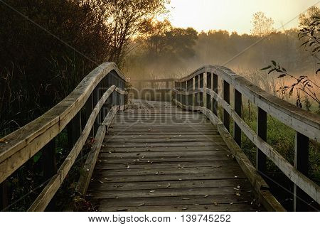 Wooden Foot Bridge in the Early Morning in Autumn