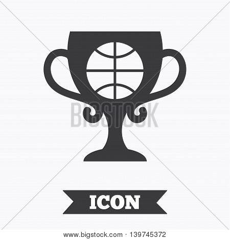 Basketball sign icon. Sport symbol. Winner award cup. Graphic design element. Flat basketball symbol on white background. Vector