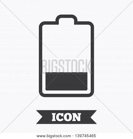Battery low level sign icon. Electricity symbol. Graphic design element. Flat battery symbol on white background. Vector