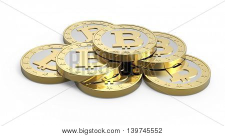 Stack of bitcoins isolated on white. 3D illustration.