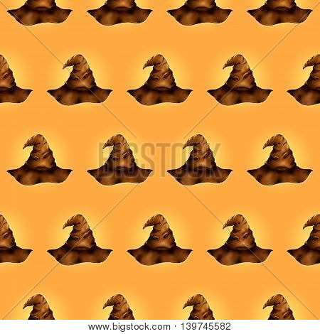 Wizard's magic leather hat cartoon seamless pattern texture background