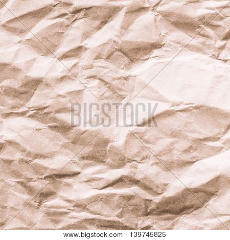 Abstract brown crumpled recycle paper on background.