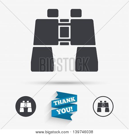Binocular sign icon. Search symbol. Find information. Flat icons. Buttons with icons. Thank you ribbon. Vector