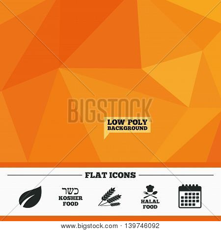 Triangular low poly orange background. Natural food icons. Halal and Kosher signs. Gluten free. Chief hat with fork and spoon symbol. Calendar flat icon. Vector