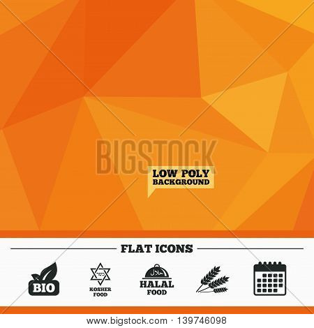 Triangular low poly orange background. Natural Bio food icons. Halal and Kosher signs. Gluten free and star of David symbols. Calendar flat icon. Vector
