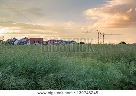 Magic and Colorful summer sunset in Germany