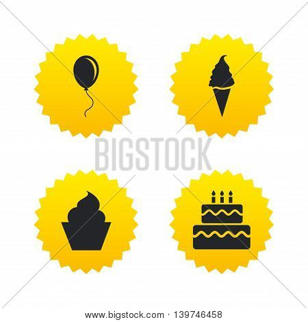 Birthday party icons. Cake with ice cream signs. Air balloon with rope symbol. Yellow stars labels with flat icons. Vector