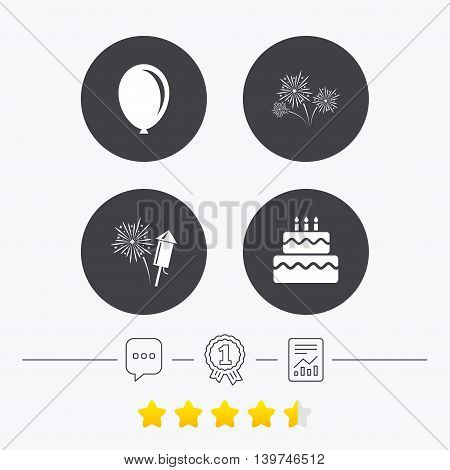 Birthday party icons. Cake and gift box signs. Air balloon and fireworks symbol. Chat, award medal and report linear icons. Star vote ranking. Vector