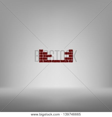 Flat Paper Cut Style Icon Of Brickwork Fragment