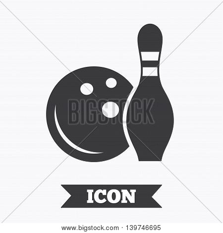 Bowling game sign icon. Ball with pin skittle symbol. Graphic design element. Flat bowling symbol on white background. Vector