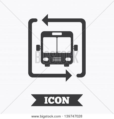 Bus shuttle icon. Public transport stop symbol. Graphic design element. Flat bus shuttle symbol on white background. Vector