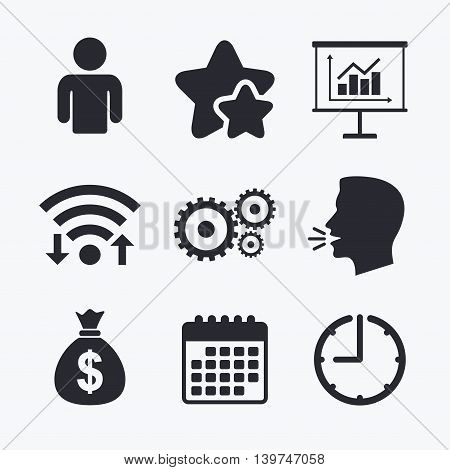 Business icons. Human silhouette and presentation board with charts signs. Dollar money bag and gear symbols. Wifi internet, favorite stars, calendar and clock. Talking head. Vector