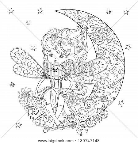 Vector cute fairy girl in flowers on christmas half moon..Vector line illustration.Sketch for postcard or print or coloring adult anti stress book.Boho zen art style doodle.