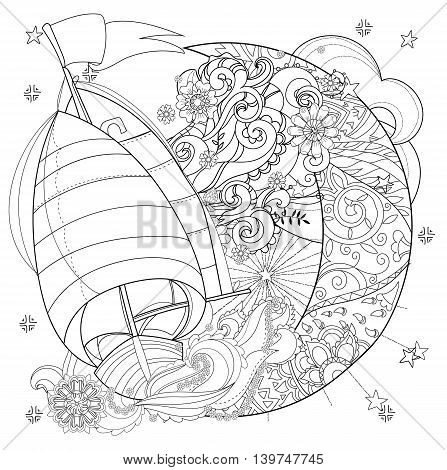 Cute boat, ship on christmas half moon with stars and flowers. Hand drawn doodle zen art.Adult anti stress coloring book or tattoo boho style.