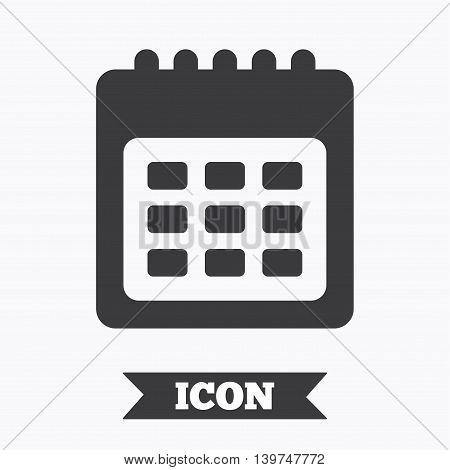 Calendar sign icon. Date or event reminder symbol. Graphic design element. Flat calendar symbol on white background. Vector