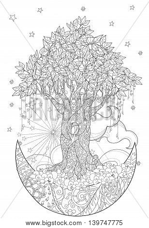 Cute fairy tale tree from magic forest on christmas half moon with stars and flowers. Hand drawn doodle zen art.Adult anti stress coloring book or tattoo boho style.