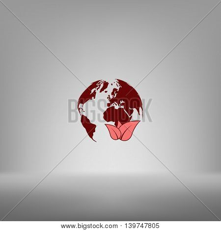 Flat Paper Cut Style Icon Of Eco Planet