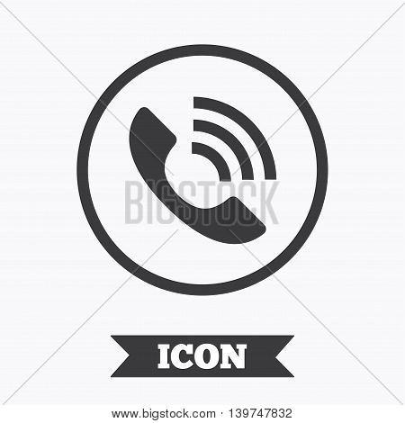 Phone sign icon. Call support center symbol. Communication technology. Graphic design element. Flat call symbol on white background. Vector
