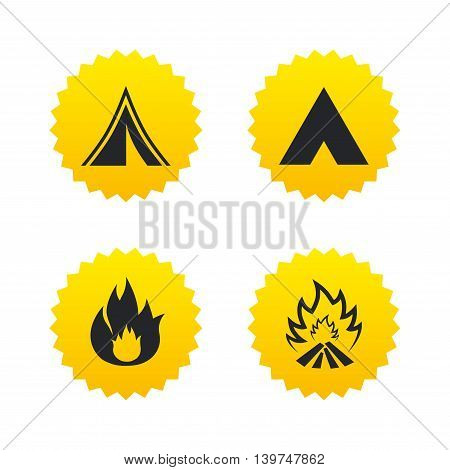 Tourist camping tent icons. Fire flame sign symbols. Yellow stars labels with flat icons. Vector