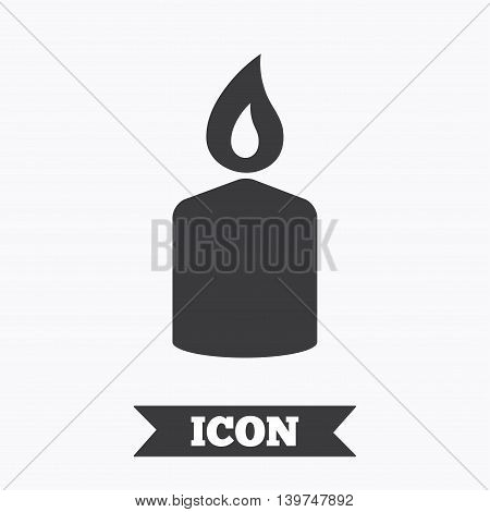 Candle sign icon. Fire symbol. Graphic design element. Flat candle symbol on white background. Vector