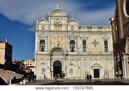 VENICE, ITALY - FEBRUARY 4: Scuola Grande di San Marco, a beautiful renaissance monument in the center of the city FEBRUARY 4, 2016 in Venice, Italy